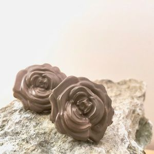 Taupe Grey Rose Studs Hand Molded & Painted